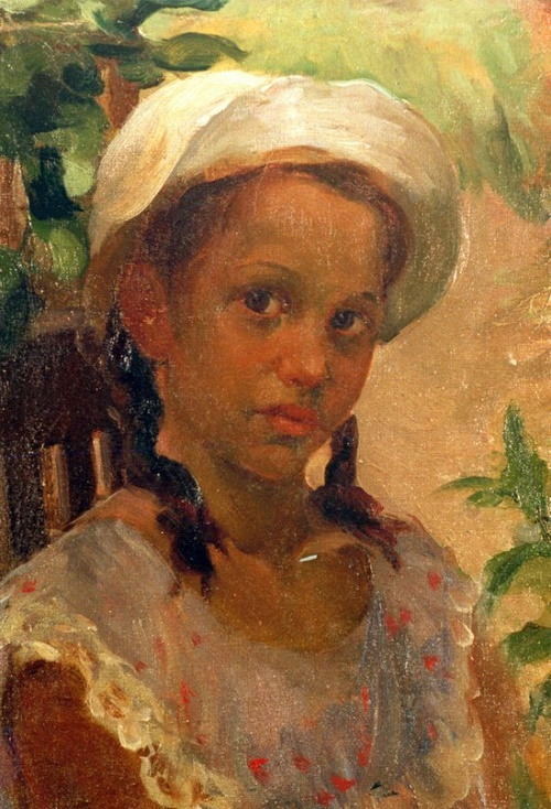 A girl in a white panama