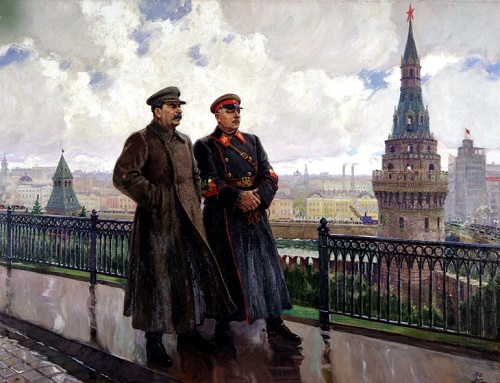 Soviet artist Alexandr Gerasimov. IV Stalin and KE Voroshilov in the Kremlin. 1938 TG