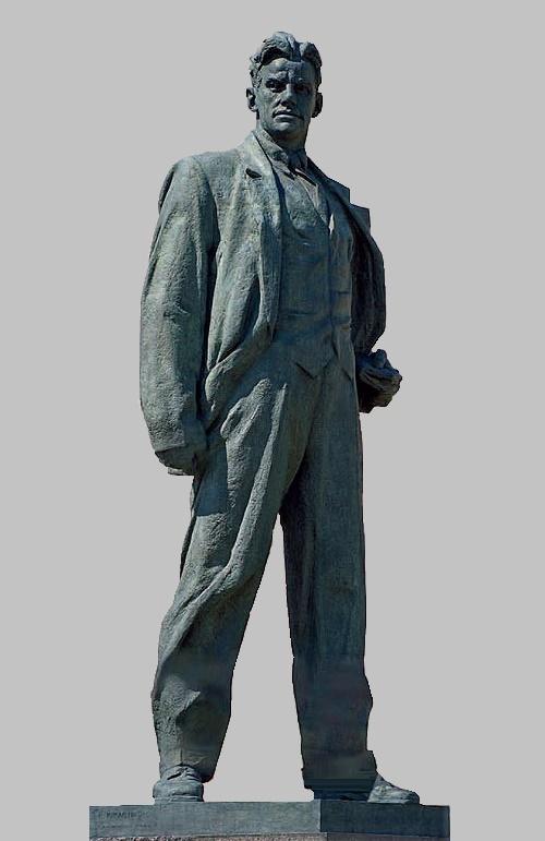 The monument to Vladimir Mayakovsky on Triumfalnaya Square in Moscow. Gypsum. 1954. Soviet sculptor Aleksandr Kibalnikov (August 9, 1912 – September 5, 1987)
