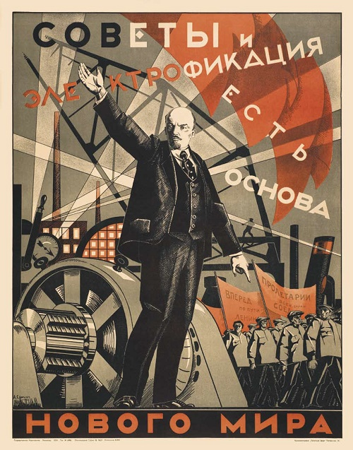 USSR Energetics Soviet Poster Art. Alexander Samokhvalov 'The Soviets and electrification are the basis of the new world'. Leningrad, 1924