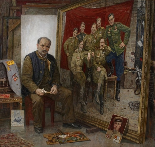 Soviet artist Alexey Belykh (b. 1923). About Friends in Arms. Self-portrait in the painting 'A Farewell to Arms. May 9, 1945. Germany (1994-1999). canvas, oil