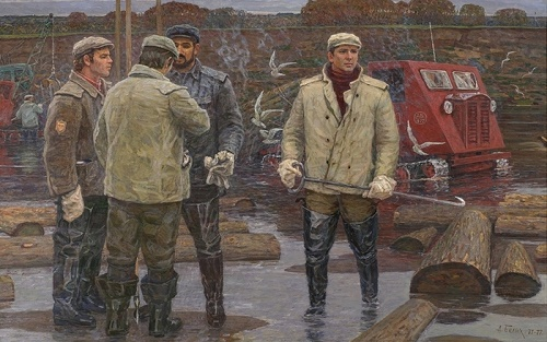 Soviet artist Alexey Belykh (b. 1923). Autumn weekdays of river rafting. Cleaning the river (1971-1977). canvas, oil