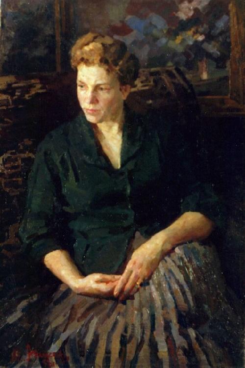 Artist's wife Evgenia Gavrilovna Anikeyeva. Portrait. 1958