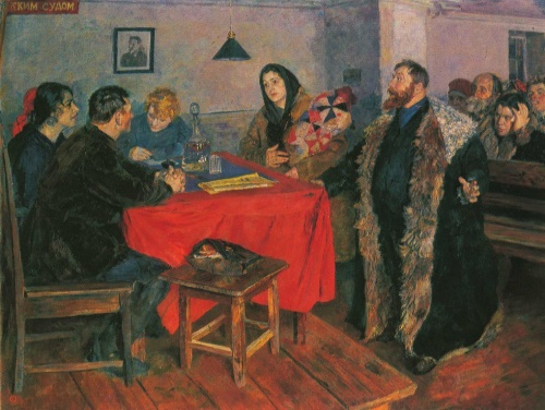 B. Ioganson. The Soviet court. Oil. 1928