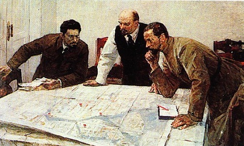 Soviet artist Valery Pimenov. Before the attack. 1965. The Central Museum of VI Lenin. Leningrad branch