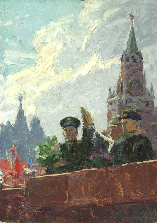 Celestial brothers. (Yuri Gagarin). 1962 Oil on cardboard. Painting by Soviet artist Igor Rubinsky (1919 - 1976)