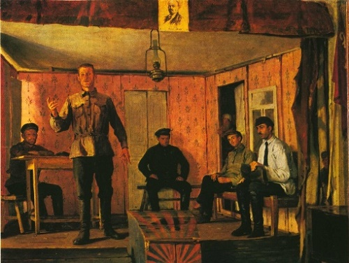 E. Cheptsov. Meeting of rural Communist cell in the theater of Medvenka village, Kursk province. Oil. 1924. The State Tretyakov Gallery