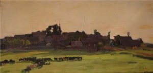 Evening. The village with the herd. 1975