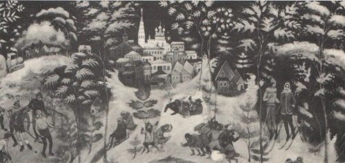 G. Kochetov. 'Palekh in winter' casket. Fragment. 1977