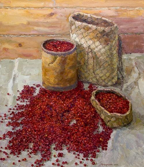 Soviet artist Gennady Daryin (1922 - 2012). Cranberry. Gift of autumn. 2006