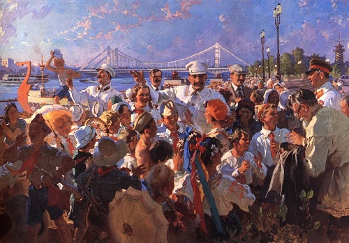 IV Stalin and the Politburo among children in Gorky Park. 1939. The State Tretyakov Gallery