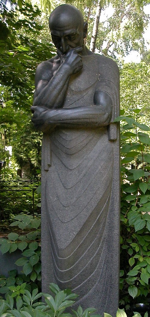 In 1956, On the grave of Merkurov at Novodevichy Cemetery was installed a monument 'Thought' created by him in 1913