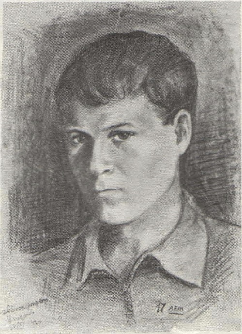 Unknown artist Ivan Chistov. Self-portrait. Pencil. 1942