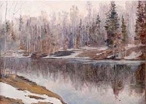 Soviet artist Konstantin Morozov.  (1894–1990). Early spring. Oil on cardboard