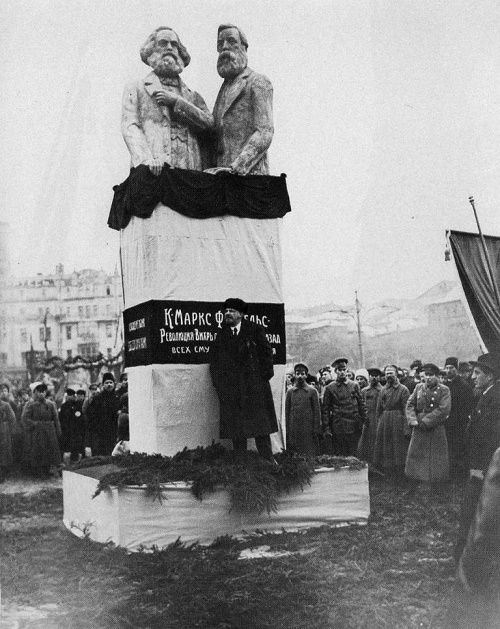 Lenin speaks at the opening of the monument to Marx and Engels. Sculpture by S.A. Mezentsev. November 7, 1918. Moscow
