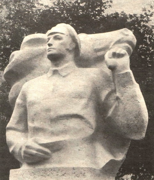 Soviet sculptor Gediminas Jokubonis. Monument to the commander of the Civil War Vitovt Putna (31.3.1893 - 12.6.1937) for the city of Moletai, Lithuanian SSR. 1977