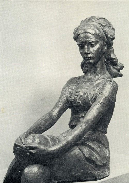 Soviet sculptor Omar Eldarov (born December 21, 1927). Portrait of a student. 1970, gypsum
