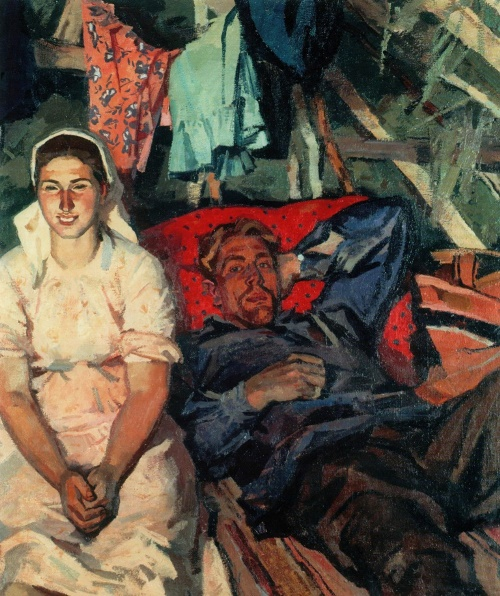 On mowing. In the hut. 1961. The State Russian Museum, St. Petersburg