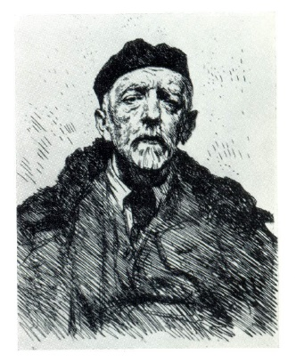 Portrait of SM. Zarudny. Etching. 1940