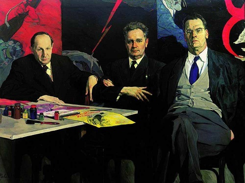 Portrait of artists Kukryniksy. 1957-1958. Canvas, oil. State Tretyakov Gallery