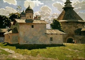 Pskov. Church and tower of the Intercession. 1969