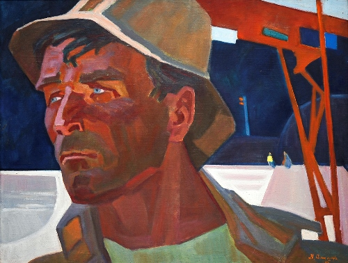 Soviet artist Mikhail Anikeyev. Raftsman. 1965