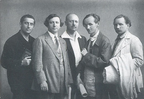 Revolutionary Russia Art Association (1922-1932) artists in 1926 (from left to right) - E.Katsman, I.Brodsky, Yu.Repin, A.Grigoriev, P.Radimov