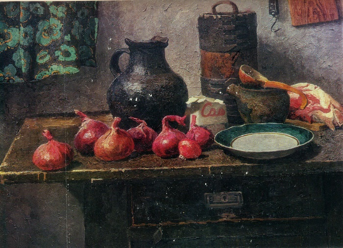 Romanov onions. 1970. Oil on canvas. Kursk Art Gallery