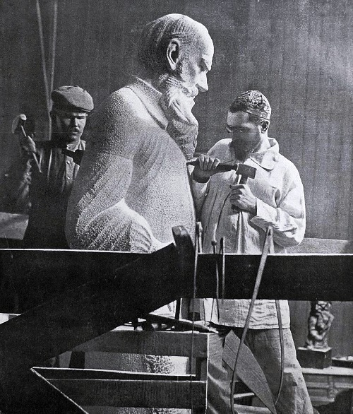 Soviet Sculptor Sergey Merkurov in the studio at work on the statue of Leo Tolstoy. 1913. Photo from the archives of GS Merkurov