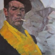 Self-portrait in a yellow scarf