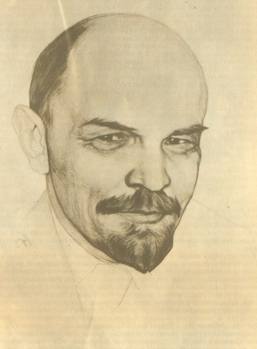 Sketch, drawing of Lenin from nature. 1920