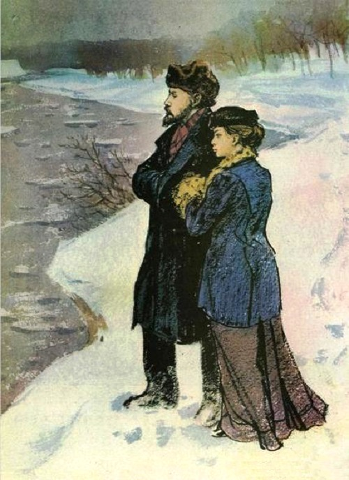 The ice is broken (Vladimir Lenin and Nadezhda Krupskaya). Painting by Soviet artist Nikolai Zhukov
