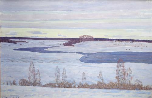 The river freezes. 1985