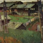 The village of Shotova Gora. Kargopol. 1963. Oil on canvas