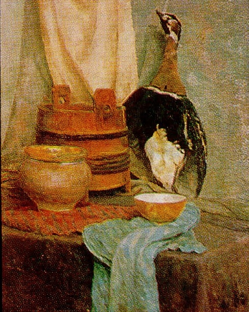The works of students of the Leningrad art school. Mikhail Tkachuk. Still life. Oil. 1950