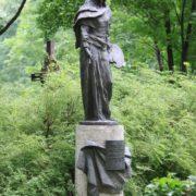 Tomb sculpture of Soviet artist Boris Ugarov (1922-1991). Work by sculptor M. Anikushin. 1994