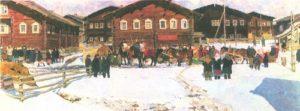 Vazhgortsky farewell to winter. Oil. 1966-1967