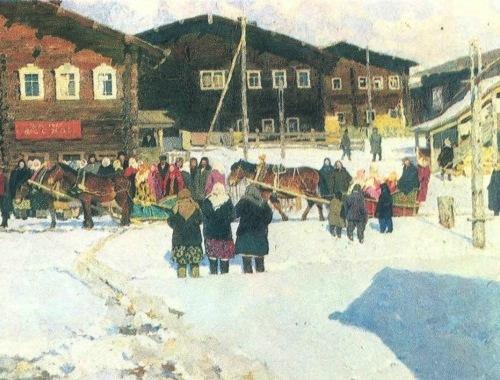 Soviet artist Vladimir Stozharov. Vazhgort farewell to winter. Oil. 1966-1967