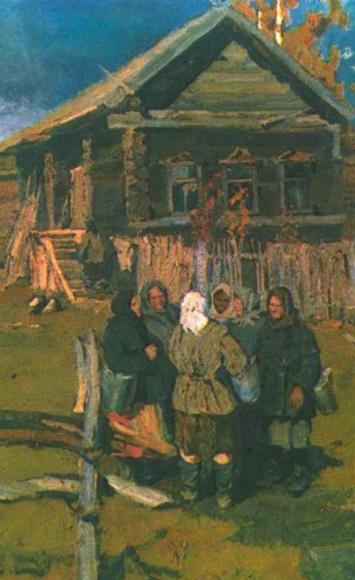 Soviet artist Vladimir Stozharov (January 3, 1926 - November 22, 1973). Village of Andreikovo. Oil. 1958, detail