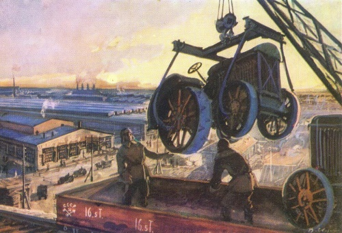 V. Svarog. Stalingrad tractor factory. 1931. Watercolor. 1934