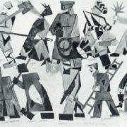 V.V. Mayakovsky. Sketches of costumes for the Mystery Buff V.V. by Mayakovsky. Watercolor, applique. 1919