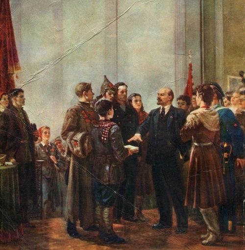 Soviet artist Vasily Hitrikov (1922-1987). Lenin at III congress of Komsomol. Ukrainian Republican art exhibition dedicated to the 40th anniversary of the Komsomol