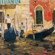 Venice. Gondoliers. 1959. Oil on canvas. Tashkent Art Museum