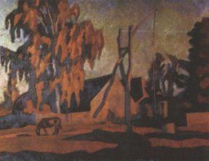 Stasov House at sunset. Oil. 1984
