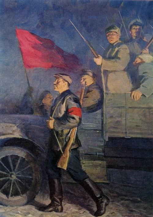 Soviet painter Victor Tsyplakov (1915-1986). Great night. Fragment 1969—1970. Oil