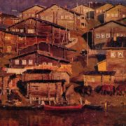 Village of Bolshaya Pyssa. 1967. Oil, canvas. Irkutsk Art museum