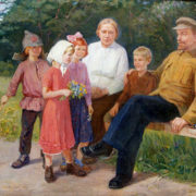 Vladimir Snopov (born in 1934). Vladimir Lenin and Krupskaya with children. Oil. 1964
