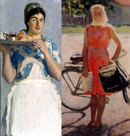Waitress Nadya (left), Lyubochka - postwoman. 1960 (right)