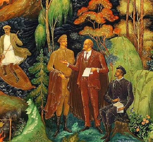 Wind of Revolution in Soviet Palekh. Lenin and Dzerzhinsky (fragment)