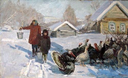Winter in the village. 1990